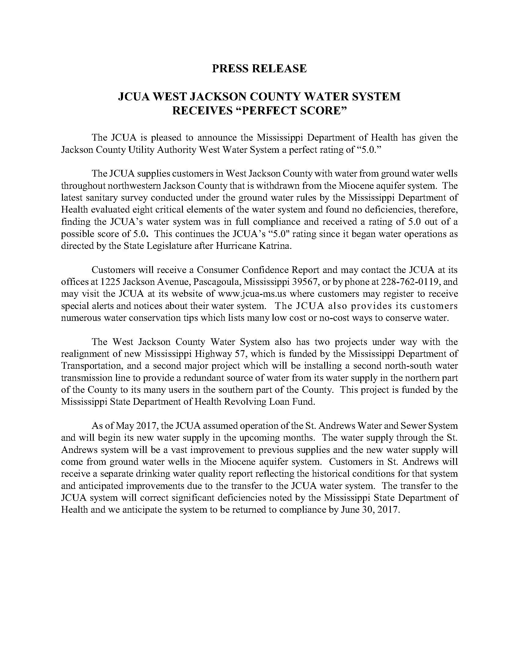 Mississippi jackson county escatawpa - Jcua West Water System Perfect Score